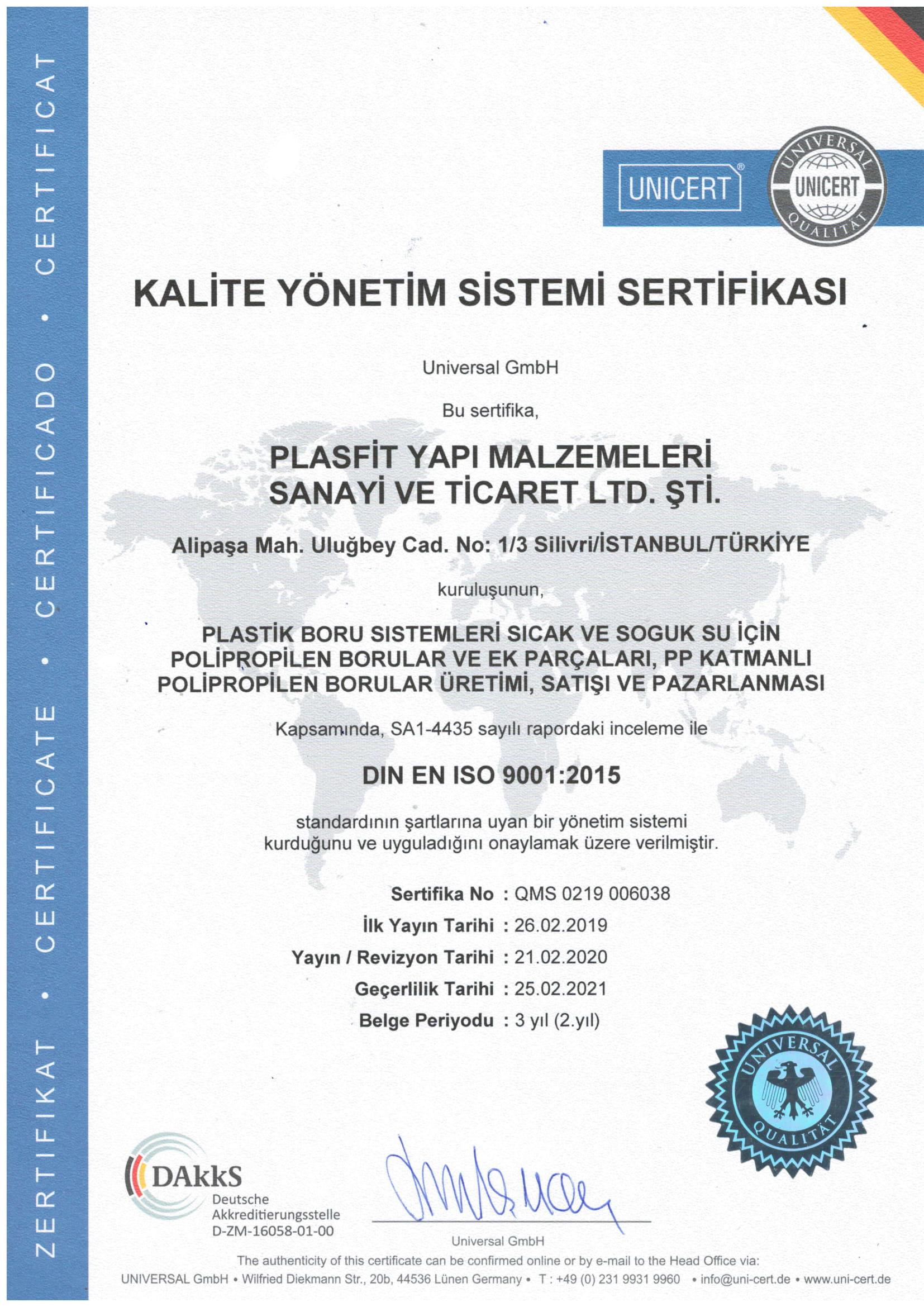 PLASFİT ISO 9001 2015 KALİTE YÖNETİMİ SERTİFİKASI 2020-1